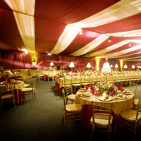 Reception, Flowers & Decor, red, gold, Table, inc, Tent, West coast event productions