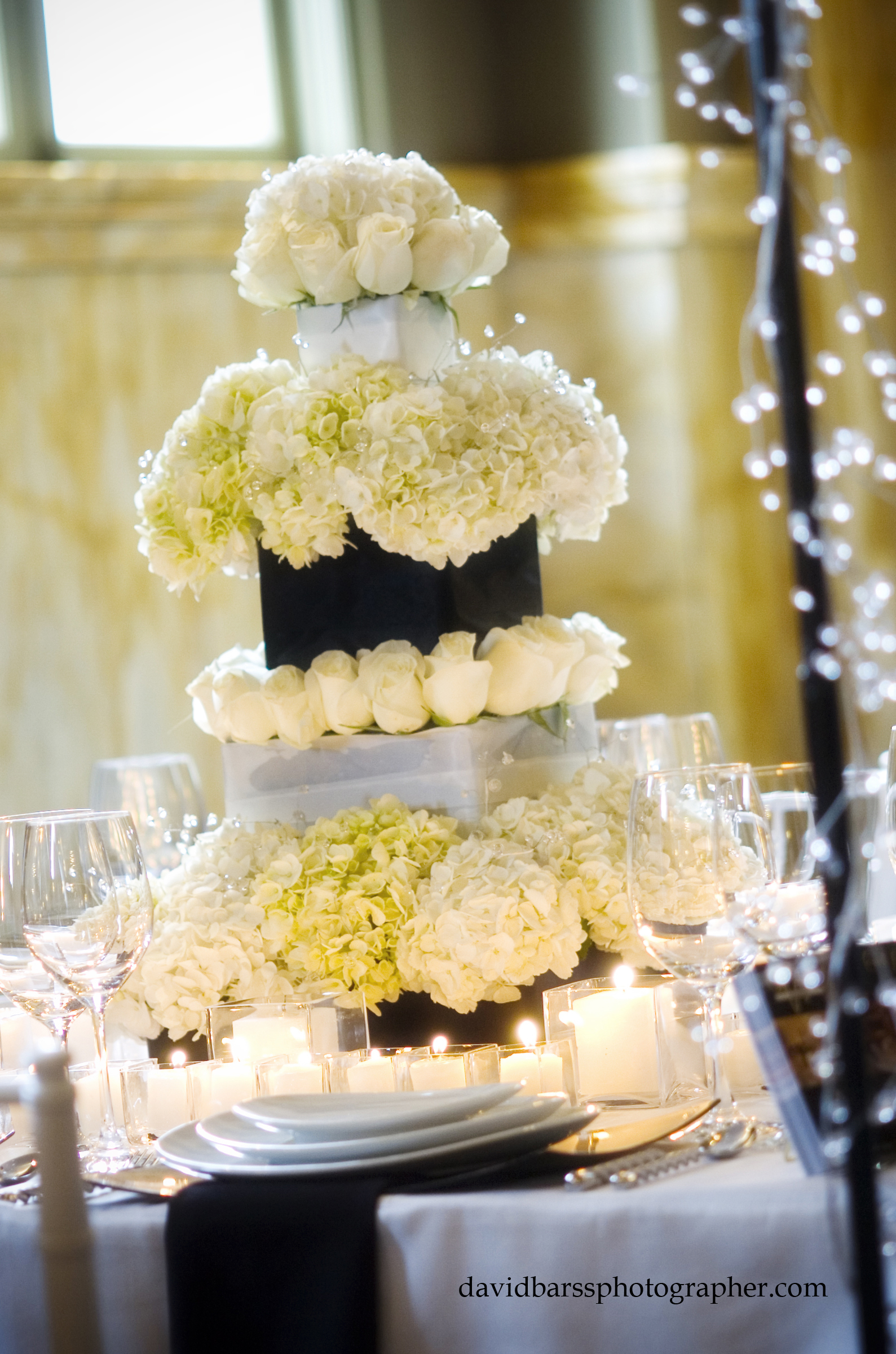 Reception, Flowers & Decor, Cakes, white, black, cake, Centerpieces, Centerpiece, Table, inc, West coast event productions