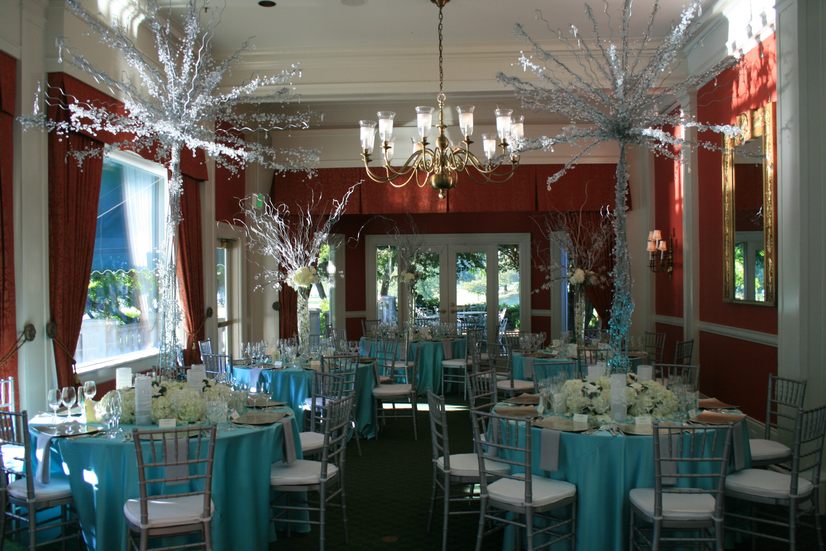 Reception, Flowers & Decor, red, blue, silver, Table, inc, West coast event productions