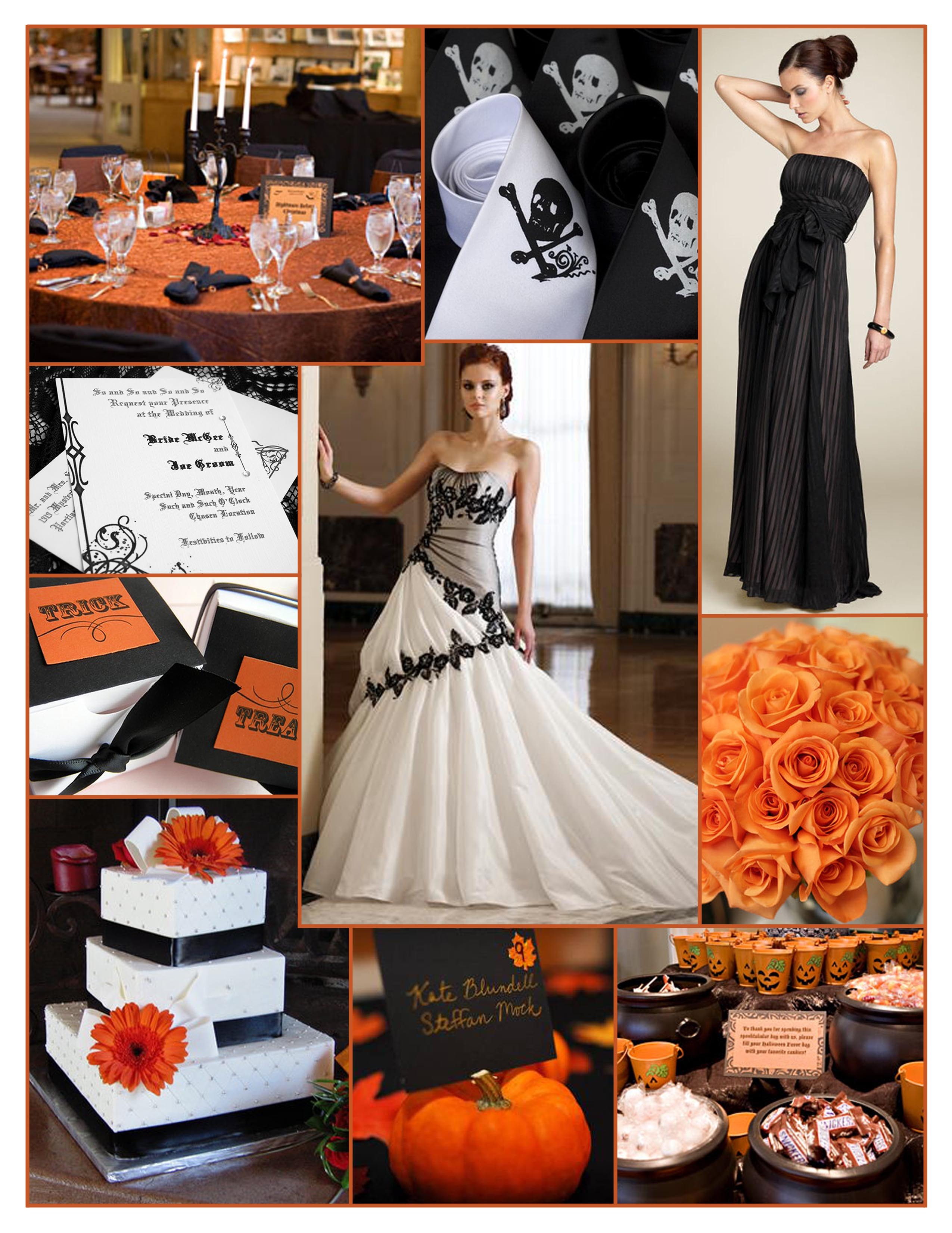 Ceremony, Inspiration, Flowers & Decor, Stationery, Cakes, orange, black, cake, Ceremony Flowers, Invitations, Flowers, Board, Halloween, Sophia Tolli, Bcbg max azria