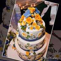 Cakes, white, yellow, blue, cake, Roses, Custom, Designer, Embroidery, llc, Butterflies, Daisies, Brush, Truly custom cakery