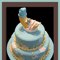 Cakes, white, yellow, blue, cake, Custom, Designer, Baby, llc, Shower, Moon, Truly custom cakery
