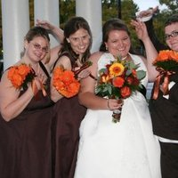 Flowers & Decor, Bridesmaids, Bridesmaids Dresses, Fashion, orange, brown, Bridesmaid Bouquets, Flowers, Bridesmaid, Daisy, Daisies, Gerbera, Flower Wedding Dresses