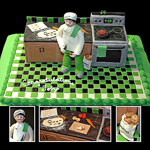 Cakes, Registry, white, green, black, cake, Kitchen, Kitchen Appliances, Groom, Custom, Designer, llc, Grooms, Chef, Truly custom cakery