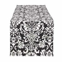 Ceremony, Reception, Flowers & Decor, white, black, Table, Runner, Damask