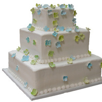 Reception, Flowers & Decor, Cakes, white, blue, green, cake, Square Wedding Cakes, Square, Simple, Hydrangeas, Homestyle bakery