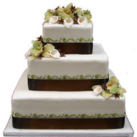 Reception, Flowers & Decor, Cakes, white, green, brown, gold, cake, Square Wedding Cakes, Square, Homestyle bakery