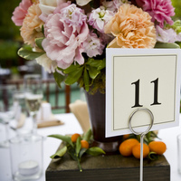 DIY, Reception, Flowers & Decor, yellow, orange, pink, brown, Centerpieces, Table Numbers, Flowers, Table, Numbers
