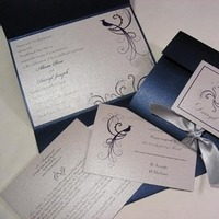 Beauty, Stationery, blue, silver, Feathers, Glam Wedding Invitations, Invitations, Bird, Ribbon, Pocketfold, Envelopments, Sapphire, Formal, Peacock, Navy, Crystals, Rhinestones, Feather, Folio, Mew paper arts