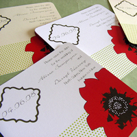 Flowers & Decor, Stationery, red, green, black, Modern, Square, Modern Wedding Invitations, Invitations, Lime, Flower, Custom, Blossom, Poppy, Bold, Graphic, Polka dots, Mew paper arts, Recycled paper