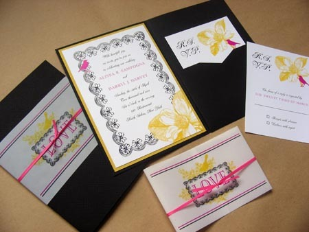 Flowers & Decor, Stationery, white, yellow, pink, black, Vintage, Invitations, Flower, Custom, Birds, Blossom, Booklet, Envelopments, Lovebirds, Swallow, Sparrow, Mew paper arts, Pocket folio