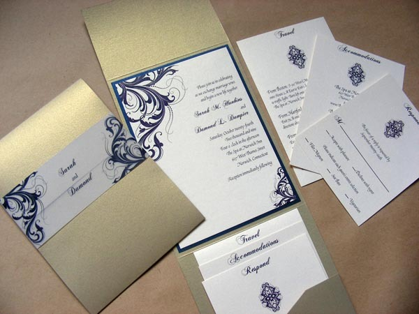 Stationery, ivory, blue, brown, gold, invitation, Classic Wedding Invitations, Invitations, Band, Pocket, Envelopments, Fold, Swirl, Navy, Metallic, Belly, Brocade, Folio, Mew paper arts