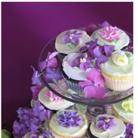 Reception, Flowers & Decor, white, pink, purple, Cupcakes
