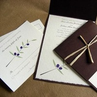 Stationery, Destinations, white, green, brown, Europe, Rustic, Invitations, Unique, italy, Raffia, Chocolate brown, Tuscan, Olives, Mew paper arts, Recycled paper