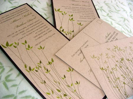 Flowers & Decor, Stationery, green, brown, Rustic, Garden, Vineyard Wedding Invitations, Invitations, Outdoor, Custom, Grass, Bamboo, Garden wedding, Natural, Farm, Leaves, Willow, Mew paper arts, Recycled paper, Kraft paper