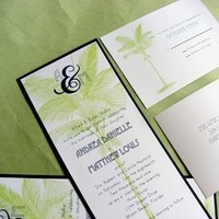 Stationery, Destinations, white, blue, green, Destination Weddings, Beach, Beach Wedding Invitations, Invitations, Lime, Ocean, Palm, Destination wedding, Chartreuse, Mew paper arts