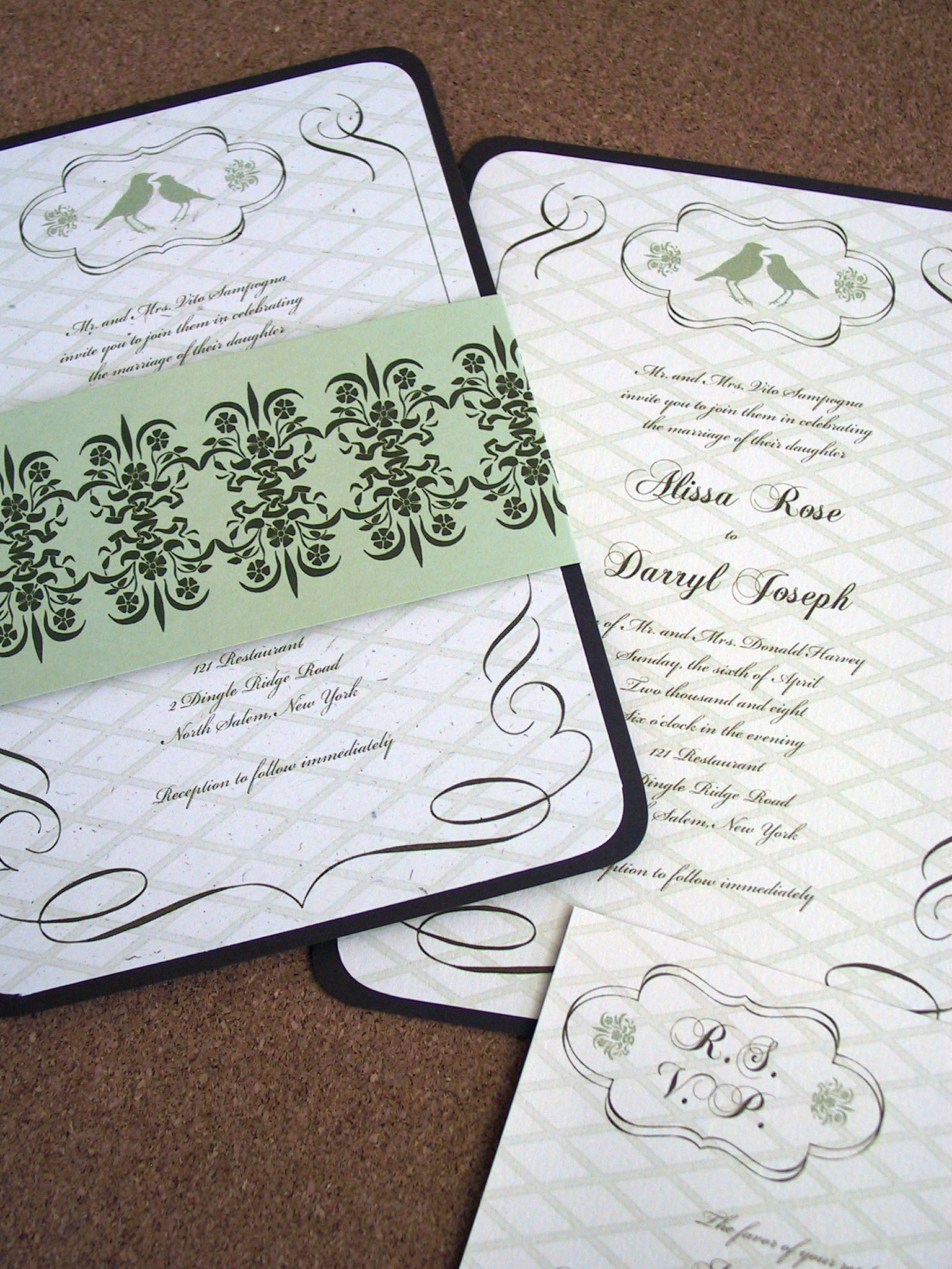 Calligraphy, Stationery, green, brown, Invitations, Birds, Scroll, Belly band, Lovebirds, Mew paper arts