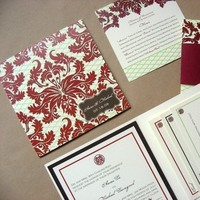 Stationery, red, green, brown, Invitations, Lime, Asian, Pocketfold, Damask, Brocade, Folio, Envelopment, Lattice, Mew paper arts, Grid