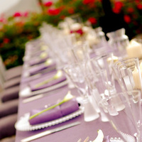Reception, Flowers & Decor, purple, silver, Table, Shot, Dahl wedding company