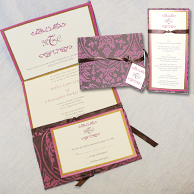 Ceremony, Reception, Flowers & Decor, Stationery, pink, brown, gold, Invitations, Custom, Unique, French, Wallpaper, Textured, Paneled, Marcy pellegrino sassi concepts designs, inc- yours by design custom invitations stationery