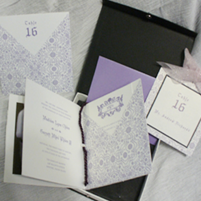 Ceremony, Reception, Flowers & Decor, Stationery, white, purple, black, silver, Invitations, Custom, Unique, With, In, Box, Majestic, Shimmery, Snap, Marcy pellegrino sassi concepts designs, inc- yours by design custom invitations stationery, Tastle