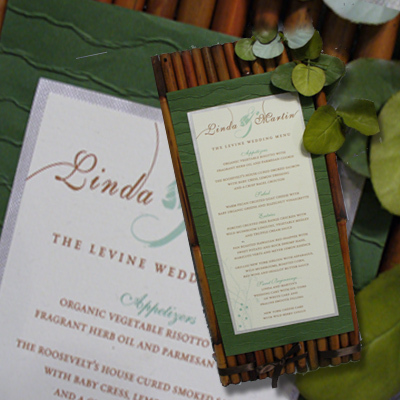Reception, Flowers & Decor, Stationery, white, green, brown, black, Invitations, Custom, Of, A, Organic, One, Kind, Fabulous, 3-d, Marcy pellegrino sassi concepts designs, inc- yours by design custom invitations stationery