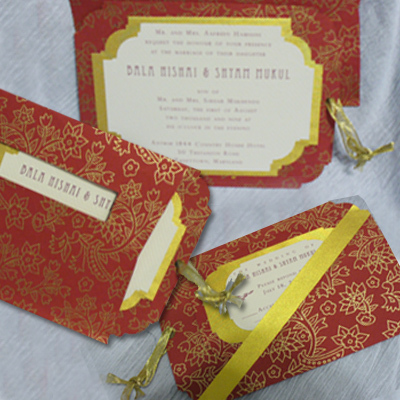 Ceremony, Reception, Flowers & Decor, Stationery, red, gold, Invitations, Inserts, Die-cut, Marcy pellegrino sassi concepts designs, inc- yours by design custom invitations stationery, Angled, Panels-, Foiled