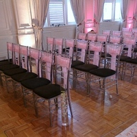 Ceremony, Flowers & Decor, pink, black, silver, Tables & Seating, Chairs, Ribbon, Aisle, Etc, Chivari, Soiree