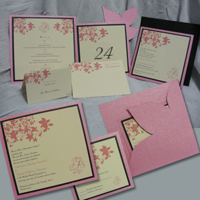 Stationery, pink, Invitations, Custom, Unique, Paneled, Marcy pellegrino sassi concepts designs, inc- yours by design custom invitations stationery