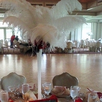 Beauty, Reception, Flowers & Decor, red, gold, Feathers, Centerpieces, Flowers, Roses, Decorations, Etc, Soiree