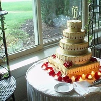 Reception, Flowers & Decor, Cakes, red, gold, cake, Flowers, Topper, Etc, Monogrammed, Soiree