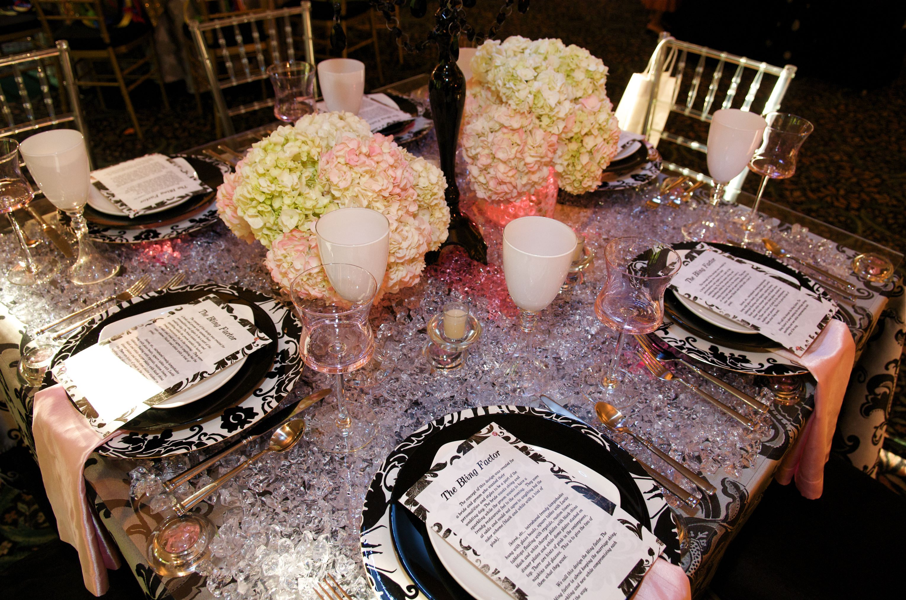 Reception, Flowers & Decor, pink, black, silver, Flowers, Table, Floral, Hydrangea, Floating, Linens, Lights, Decorations, Bling, Etc, Soiree