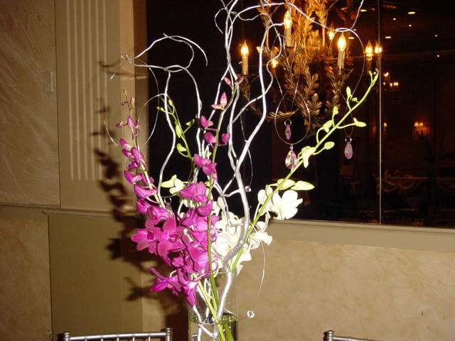 Reception, Flowers & Decor, purple, black, silver, Centerpieces, Flowers, Centerpiece, Vase, Orchids, Glass, Decorations, Etc, Crystals, Soiree