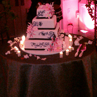 Reception, Flowers & Decor, Cakes, pink, black, silver, cake, Candles, Flowers, Knife, Etc, Server, Soiree