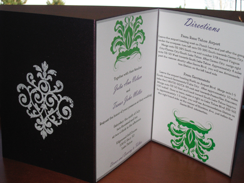 Stationery, Invitations, Pocketfold, Embossed, The stylish scribe, Tri-fold