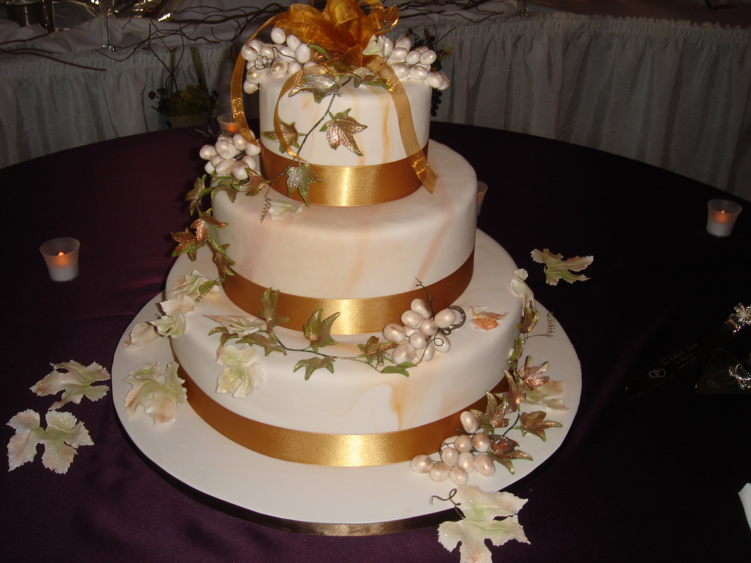 Flowers & Decor, Cakes, white, gold, cake, Vineyard, Ribbon Wedding Cakes, Vineyard Wedding Cakes, Theme, Ribbon, Topper, Grapes, Leaves, The artful baker