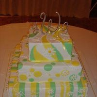 Cakes, white, yellow, green, cake, Colorful, Daisy, Whimsical, playful, The artful baker