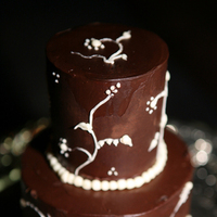 white, brown, And, Chocolate, Ganache, 2-tier