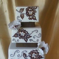 Flowers & Decor, Cakes, white, brown, gold, cake, Square Wedding Cakes, Square, Flowers, Embroidery, Fantasy, Sugar, Gumpaste, Brush, Patty cakes llc, Risers