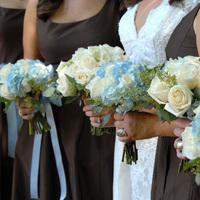 Flowers & Decor, Bridesmaids, Bridesmaids Dresses, Fashion, white, blue, brown, Bridesmaid Bouquets, Flowers, Lisa foster floral design, Flower Wedding Dresses
