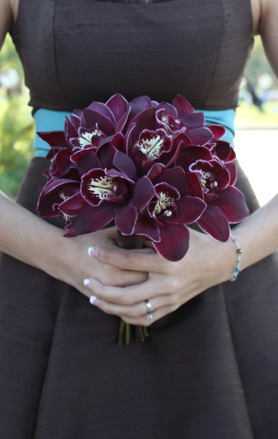 Flowers & Decor, Bridesmaids, Bridesmaids Dresses, Fashion, red, brown, Bridesmaid Bouquets, Flowers, Bridesmaid, Art with nature floral design, Cymbidiums, Flower Wedding Dresses