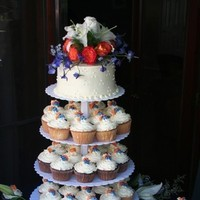 Reception, Flowers & Decor, Cakes, orange, blue, cake, Cupcakes, Flowers, Cutting, Event girls inc