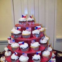 Reception, Flowers & Decor, Cakes, white, red, blue, cake, Cupcakes, Brown sugar custom cakes