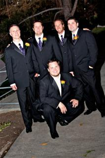 purple, black, Groomsmen