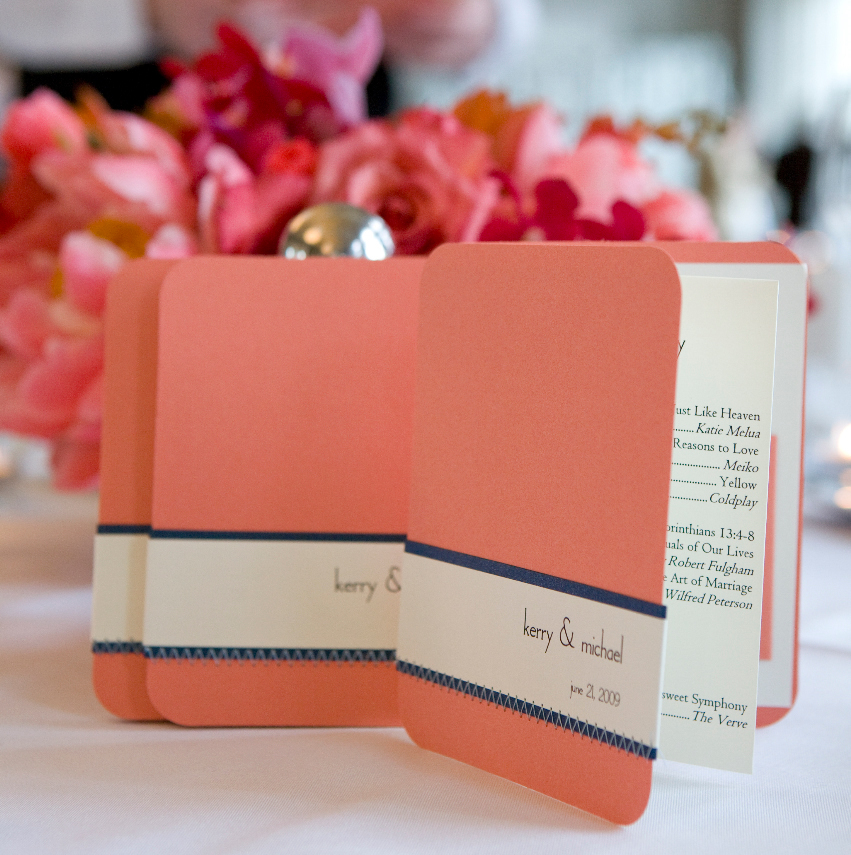 Ceremony, Flowers & Decor, Stationery, orange, blue, invitation, Invitations, Ceremony Programs, Program, Paper and thread studio