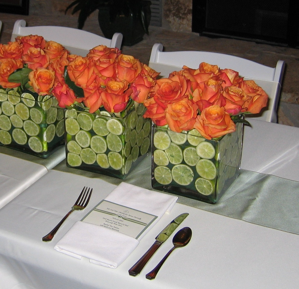 Flowers & Decor, Stationery, orange, green, Centerpieces, Invitations, Flowers, Centerpiece, Menu, The silver vase llc
