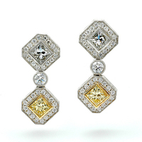 Jewelry, white, yellow, Earrings, Diamond, Heirloom