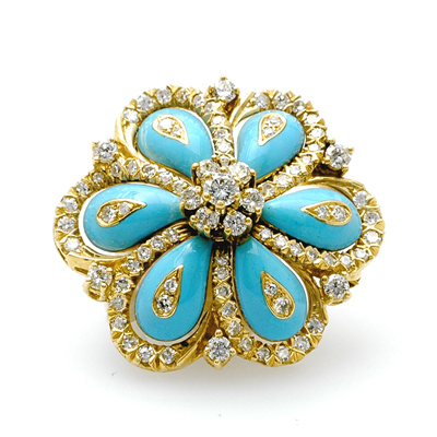 Jewelry, white, blue, Brooches, And, Brooch, Diamond, Estate, Enamel