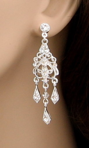 Jewelry, silver, Earrings, Chandelier, Great day fashion accessories - bridal jewelry hair accessories