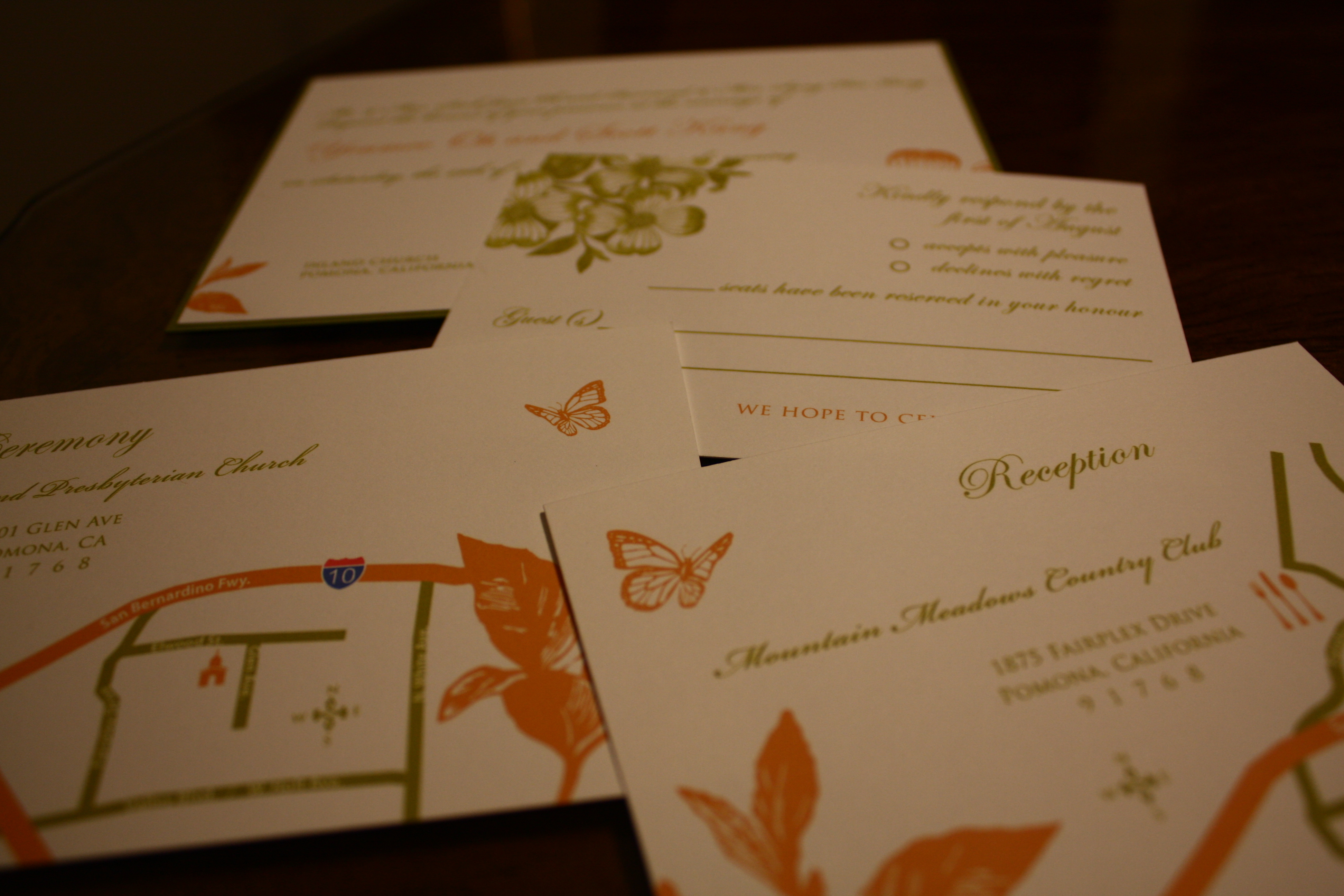 Stationery, white, orange, green, Invitations, Wedding, Printed, Flat, Olive hue